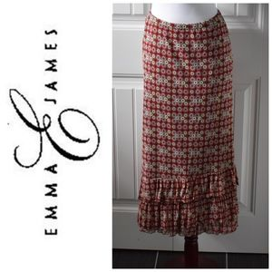 Emma James Red Print Ruffled Skirt Size 18W